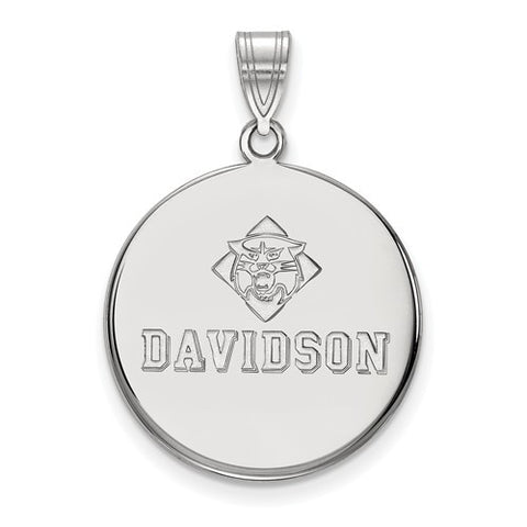 10kw White Gold Davidson College Large Disc Pendant