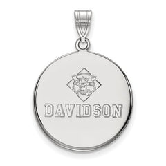 10kw White Gold Davidson College Large Disc Pendant - Lannan Jewelry