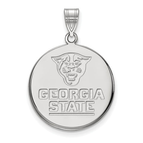 10kw White Gold Georgia State University Large Disc Pendant