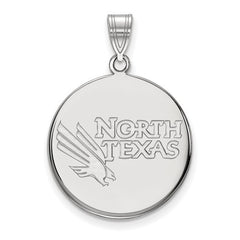 10kw White Gold University of North Texas Large Disc Pendant - Lannan Jewelry