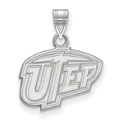 14kw White Gold The University of Texas at El Paso Small Pendant - Lannan Jewelry