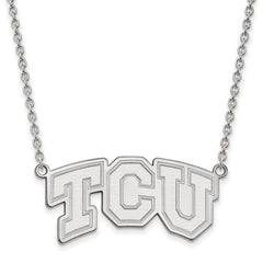 10kw White Gold Texas Christian University Large Pendant w/ Necklace - Lannan Jewelry