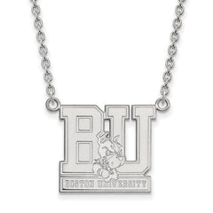 10kw White Gold Boston University Large Pendant w/Necklace - Lannan Jewelry