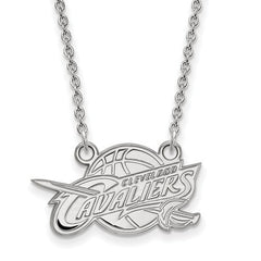 10kw White Gold Cleveland Cavaliers Small Pendant w/Necklace - Lannan Jewelry