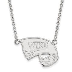 10kw White Gold Western Kentucky University Large Pendant w/ Necklace - Lannan Jewelry