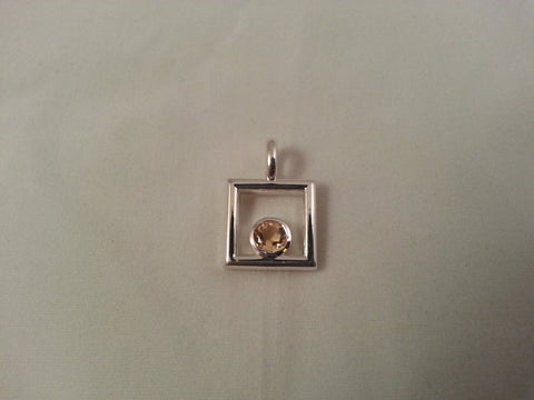 Sterling silver yellow citrine square pendant - Lannan Jewelry - 1