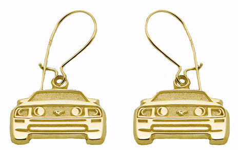 MUSTANG FRONT END PENDANT 14K YELLOW GOLD EARRINGS - Lannan Jewelry
