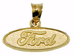 Sterling Silver or Gold Ford logo oval shape pendant - Lannan Jewelry