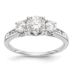 14kw True Origin Lab Grown Diamond VS/SI, D E F, 3-Stone Semi-Mount Engagement Ring - Lannan Jewelry