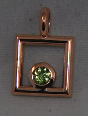 Rose Silver pendant with genuine Peridot - Lannan Jewelry