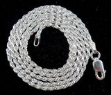24 inch 2MM Solid Sterling Silver Italian DIAMOND CUT ROPE CHAIN Necklace Italy 925