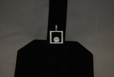 Sterling silver pendant with genuine white topaz - Lannan Jewelry - 1