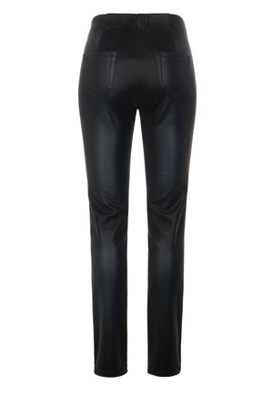 Damen Hose Happy Fit Leather Like
