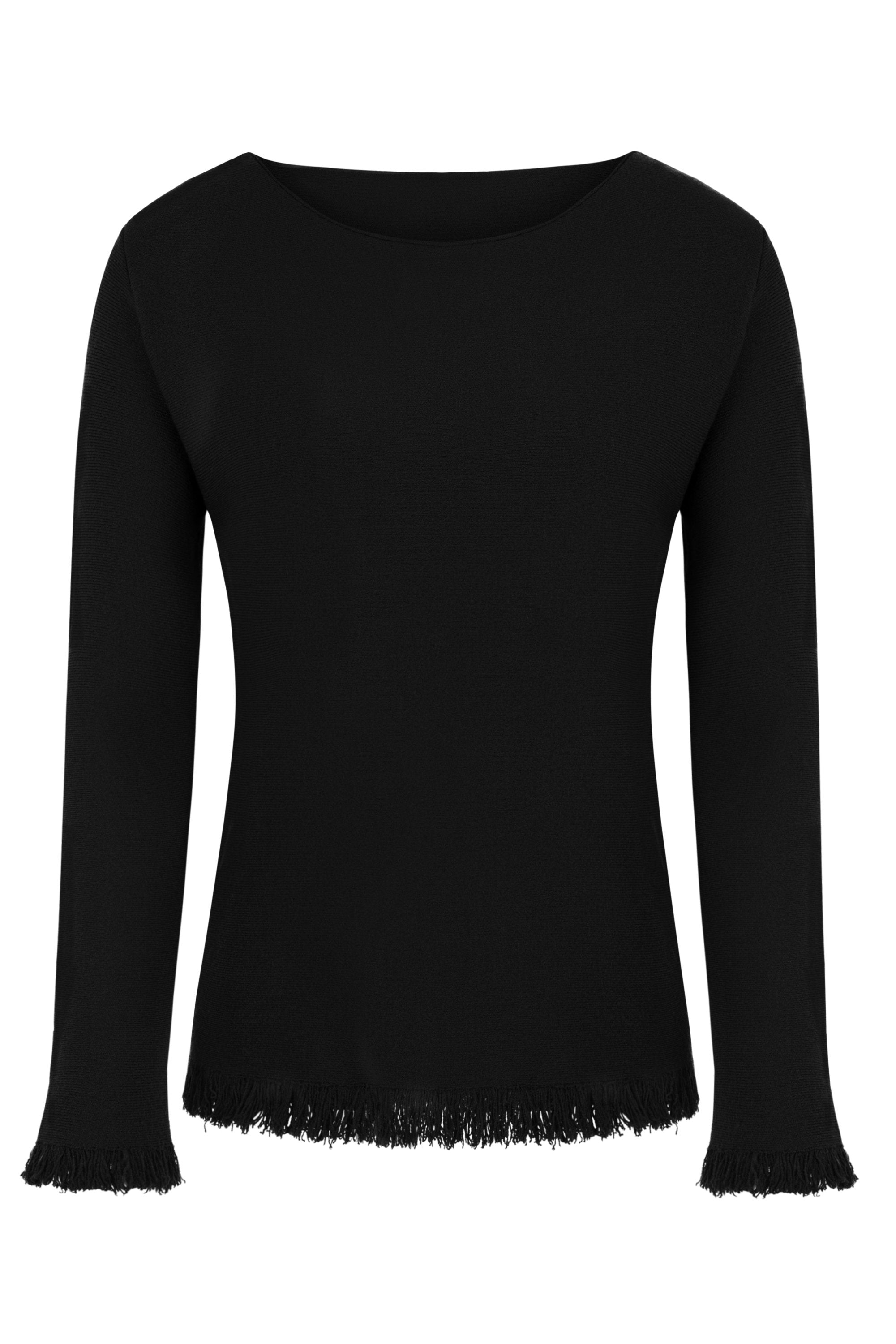 Damen Pullover Sweat mit Fransen