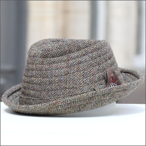 a4e68d94 Failsworth Harris Tweed Orkney Brown Herringbone Hat,