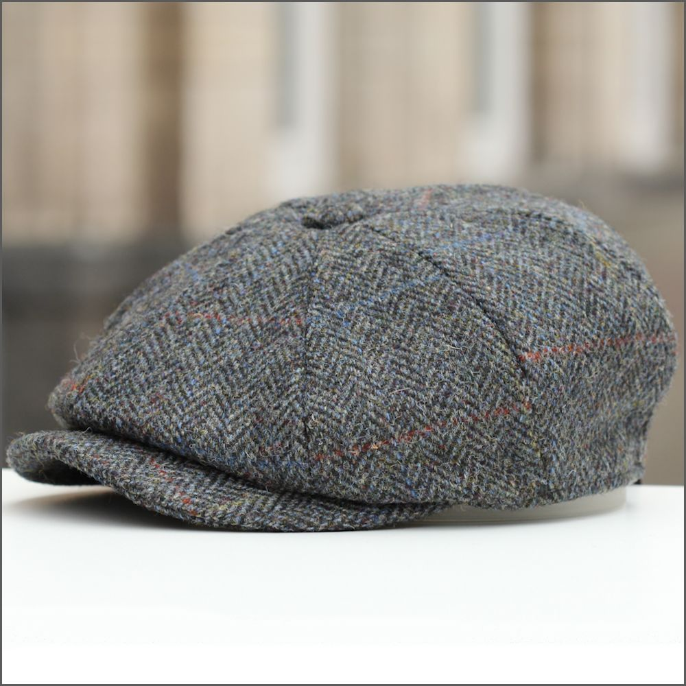 Harris Tweed Carloway 8 Piece Charcoal Herringbone Cap 3182c36d3db