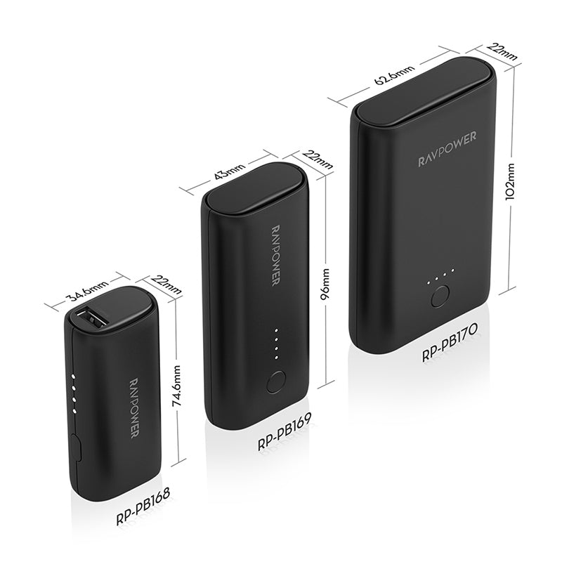 RAVPOWER 3350mAh|6700mAh|10050mAh 3 Pack Power Bank - Black