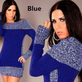 Autumn Women's Fashion Long Sleeve Mixed Colors Long Sweater Mini Dress Knitted Wear Knitted Dress Sweater Dress