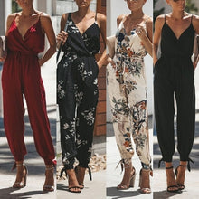 Load image into Gallery viewer, Casual Women Sleeveless Deep V-Neck Backless Jumpsuits Spaghetti Strap Rompers