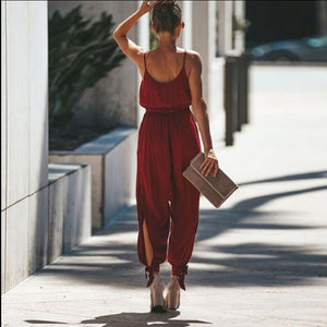 Casual Women Sleeveless Deep V-Neck Backless Jumpsuits Spaghetti Strap Rompers