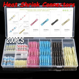 200PCS  Assorted Fullly Insulated Heat Shrink Butt Splice Connectors Waterproof Crimp Terminals Soldering Sleeve Kit