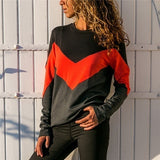 New Fashion Women Spring Autumn Color Block Stitching Round Neck Long Sleeve T-Shirt Casual Women's Blouse Top