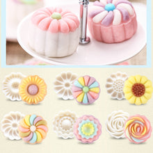 Load image into Gallery viewer, Round Flower Mooncake Mold DIY Hand Pressure Fondant Moon Cake Cookie Cutter Pastry Baking Tool