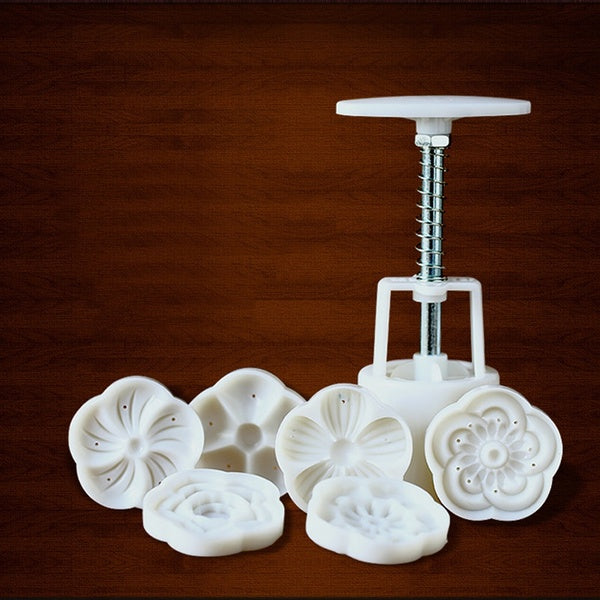 Round Flower Mooncake Mold DIY Hand Pressure Fondant Moon Cake Cookie Cutter Pastry Baking Tool