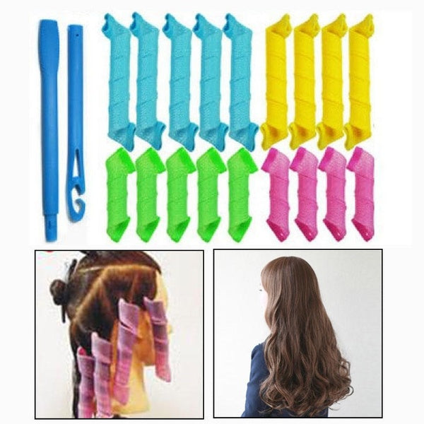 Hair rollers hair curlers twist spiral circle curl formers magic roller 18pcs