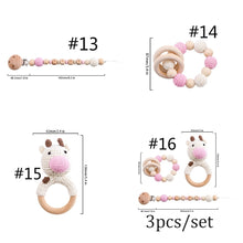 Load image into Gallery viewer, 1PC/3PC Baby Rattle Pacifier Chain Amigurumi Crochet Art Food Grade Baby Teether Crib Bell Teething Toys Juguetes Baby Stuff Teether Set