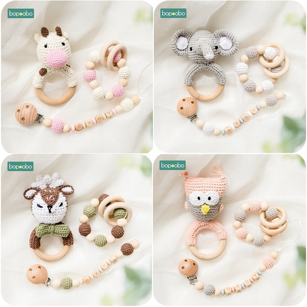 1PC/3PC Baby Rattle Pacifier Chain Amigurumi Crochet Art Food Grade Baby Teether Crib Bell Teething Toys Juguetes Baby Stuff Teether Set