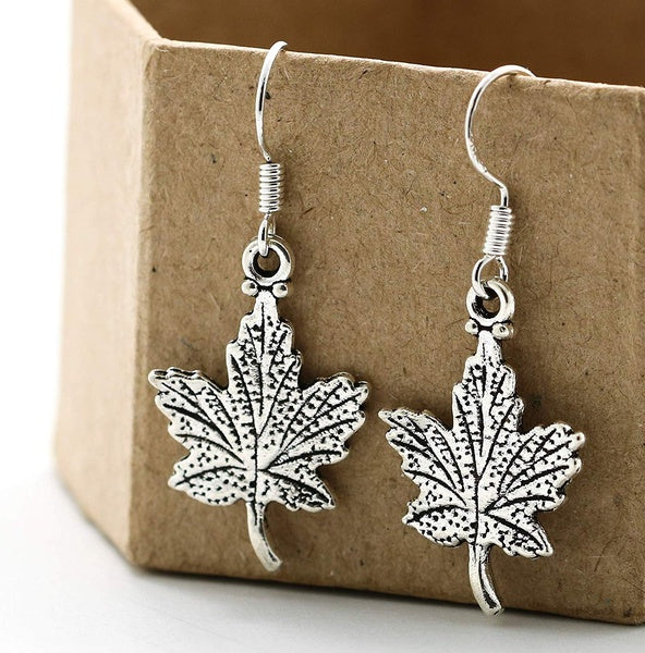 Thanksgiving Fall Maple Leaf Dangle Earrings Sterling Silver Hooks - Leaves Jewelry - Autumn Themed Gifts for Women