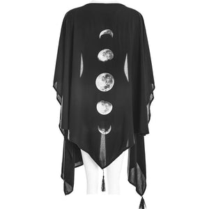 Moon Phases Printed Punk Gothic Style Cardigan Irregular Cardigan Cool Thin Coat Cosplay Costumes