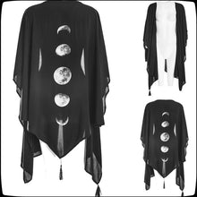 Load image into Gallery viewer, Moon Phases Printed Punk Gothic Style Cardigan Irregular Cardigan Cool Thin Coat Cosplay Costumes