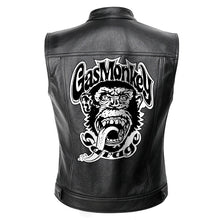 Load image into Gallery viewer, Gas Monkey Mens Leather Motorcycle Vest Jacket Men  Spring Punk Jackets Black Motorrad Gilet