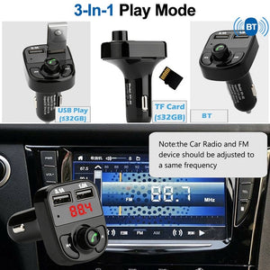 Car Bluetooth Kit FM Transmitter Dual USB MP3 Player Radio USB Port Hands-free Wide Compatibility Car Accessories