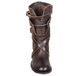 Women's Leather Long Leather Boots Side Zipper Boots Casual Fashion Ladies Retro Motorcycle Black Boots