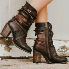 Load image into Gallery viewer, Women's Leather Long Leather Boots Side Zipper Boots Casual Fashion Ladies Retro Motorcycle Black Boots