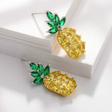 Load image into Gallery viewer, 925 Sterling Silver Crystal Pineapple Drop Earrings for Women Topaz Stud Earrings Wedding Trendy Dangle Jewelry