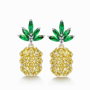 925 Sterling Silver Crystal Pineapple Drop Earrings for Women Topaz Stud Earrings Wedding Trendy Dangle Jewelry