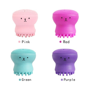 Cute Animal Small Octopus Shape Multi-function Silicone Facial Cleaning Brush Deep Pore Cleaning Exfoliator Face Washing Brush Beauty Gifts