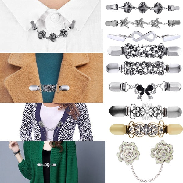 Fashion Alloy Brooch Shell Starfish Chain Clothing Collar Clips Women Cardigan Sweater Pins Wedding Beach Jewelry Accessories Gift