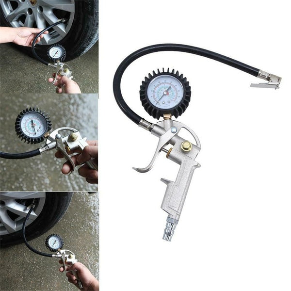 Universal Car Tyre Pressure Gauge Max Test 220Psi  Tyre Tire Inflator Gun Round Dial Air