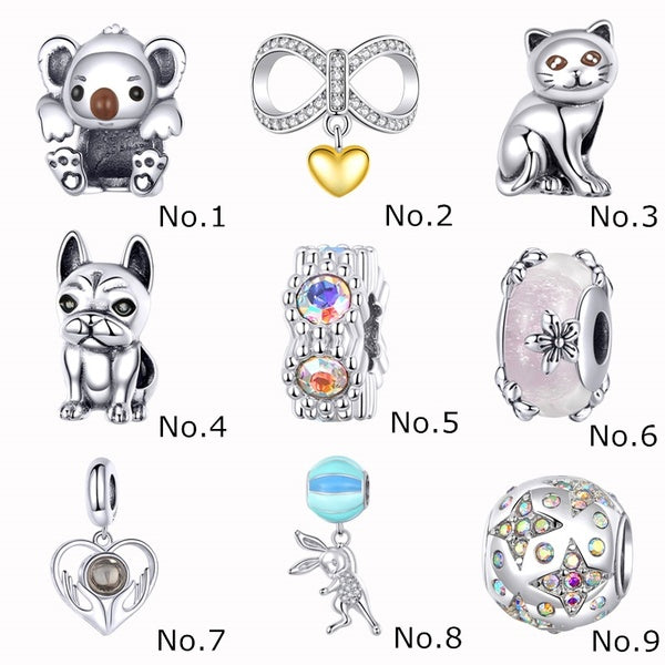 Genuine 100% 925 Sterling Silver Lovely Charms Doggy / Cat Authentic Beads Fit Original Bracelet Necklace Jewelry Gift