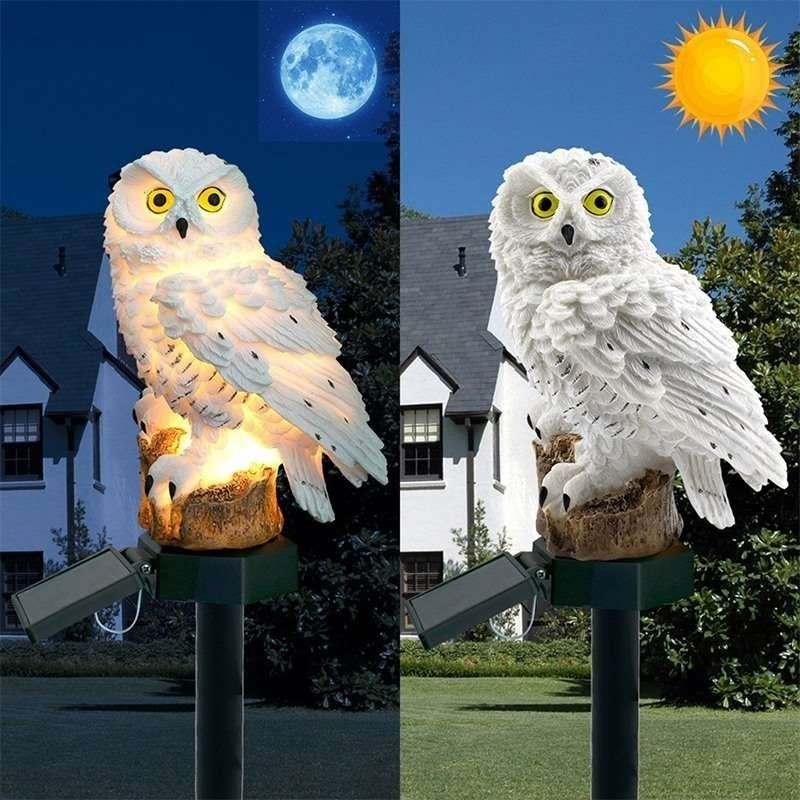 Waterproof Solar Power LED Light Garden Path Yard Lawn Owl Animal Ornament Lamp(color:white/brown)