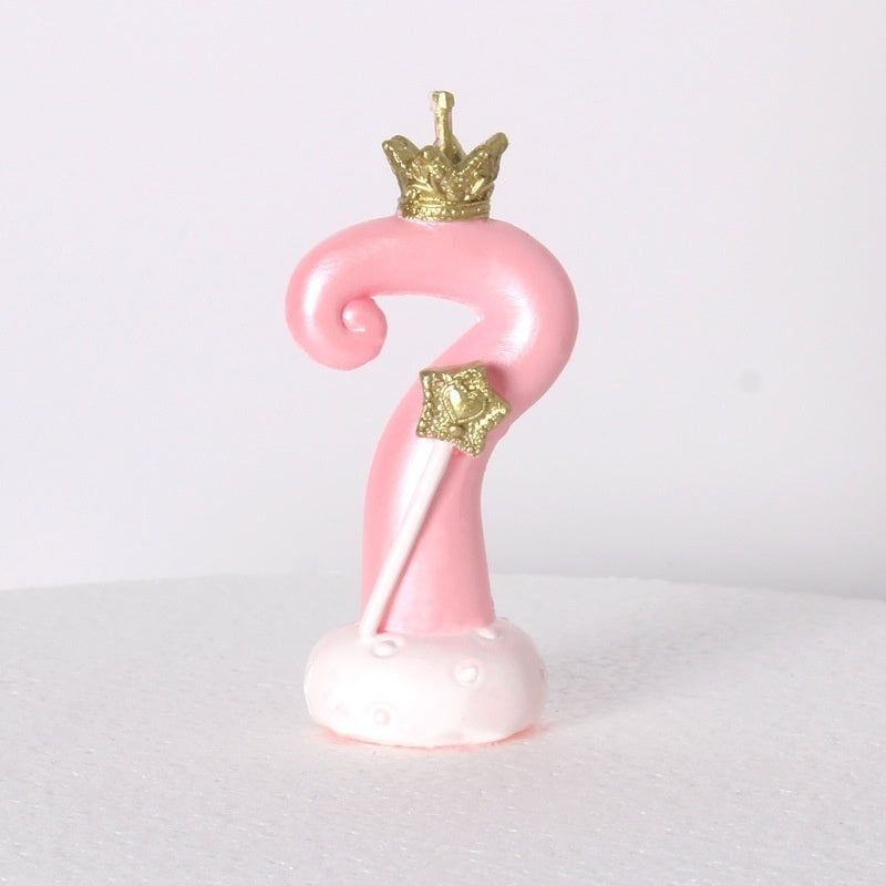 1Pcs Birthday Cake Decoration with Crown Digital Candle 0-9 Birthday Candle Baby Birthday Cake Decoration