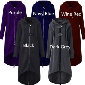 Women Fashion Winter Long Sleeve Hooded Zip-up Asymmetric Hem Long Hoodie Coat Jacket Black/Dark Grey Plus Size S-5XL