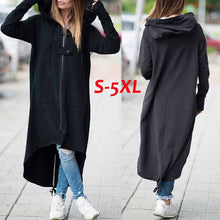 Load image into Gallery viewer, Women Fashion Winter Long Sleeve Hooded Zip-up Asymmetric Hem Long Hoodie Coat Jacket Black/Dark Grey Plus Size S-5XL