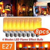 4/6/8Pcs  4Modes Gravity Sensor E27 Super Bright 96 LED Flame Effect Fire Light Bulb Creative Flickering Emulation Decorative Atmosphere Light Home Decor Lamp