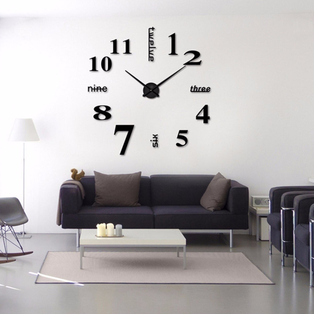 12inch 3D DIY Acrylic Mirror Large Wall Clock Modern Home Decoration Quartz Watch StickerFor living room decor meetting (Color: Black,Gold,Silver)